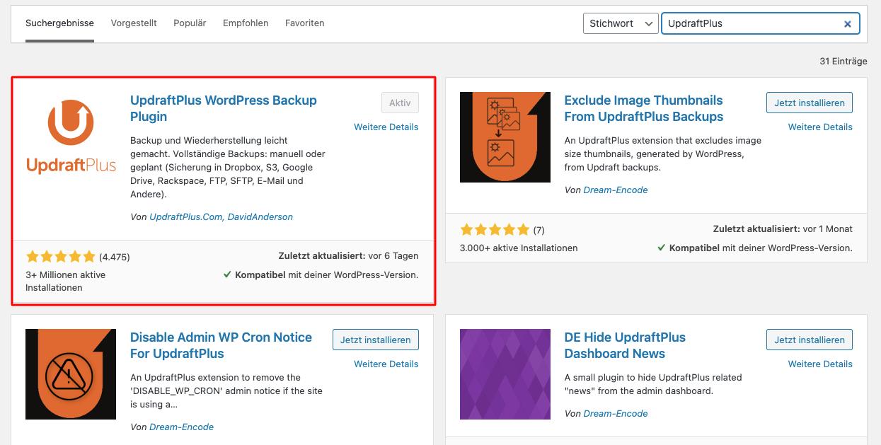 Wordpress Backup